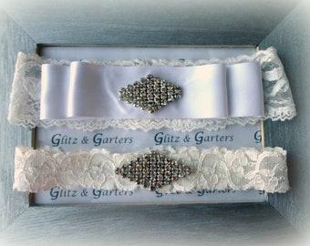 WHITE Lace & SATIN Ribbon Wedding Garter Set, Bridal Garter-Vintage Bow, Crystal Rhinestone Design Show-Crystal Toss