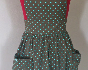 Women's Retro brown and blue polka dot apron/ Full skirt apron