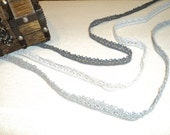 Crochet Lace in 3 different shades of Grey 10mm width 6 meters