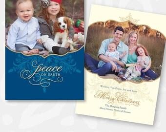 Christmas Card Template - Peaceful Snowflake - 1021