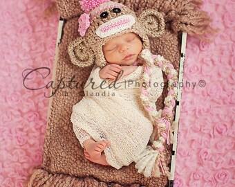 Baby Girl Hat CUTE Newborn Baby Boy or Girl  Crochet knit Sock Monkey Hat With Ear Flaps  0 3 6 months