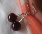 925 Plum Agate earrings with diamond cut glitter Sterling Silver violett purple beautiful tube beads