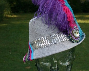 DISCO DOLL - Super Fun Party Fedora with Hand-beaded Medallion