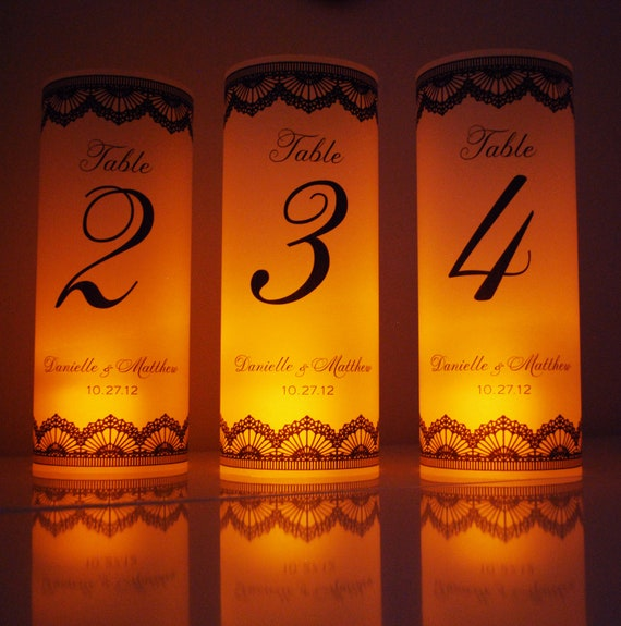 One Table Number Luminary - Printed Vellum Paper Wedding Lace LED Flameless Candle Luminaries Lighting Centerpiece Table Decor
