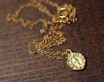 Gold virgin mary necklace - protective religious necklace  - a tiny gold virgin mary on a 14k gold vermeil chain