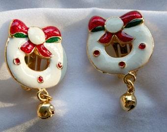 Christmas Earrings Wreaths Have Real Jingle Bells Christmas Jewelry