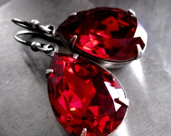 Red Crystal Earrings - Swarovski Red Crystal Teardrop Earrings, Valentines Day Gift for Her, Bridal Bridesmaid Earrings, Bridesmaid Jewelry