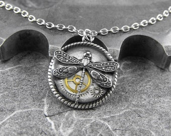 Small Steampunk Dragonfly Necklace - Silver Dreams of the Mechanical Dragonfly by COGnitive Creations