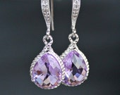Orchid Crystal Teardrops in Silver on Micro Pave Detailed French Earrings