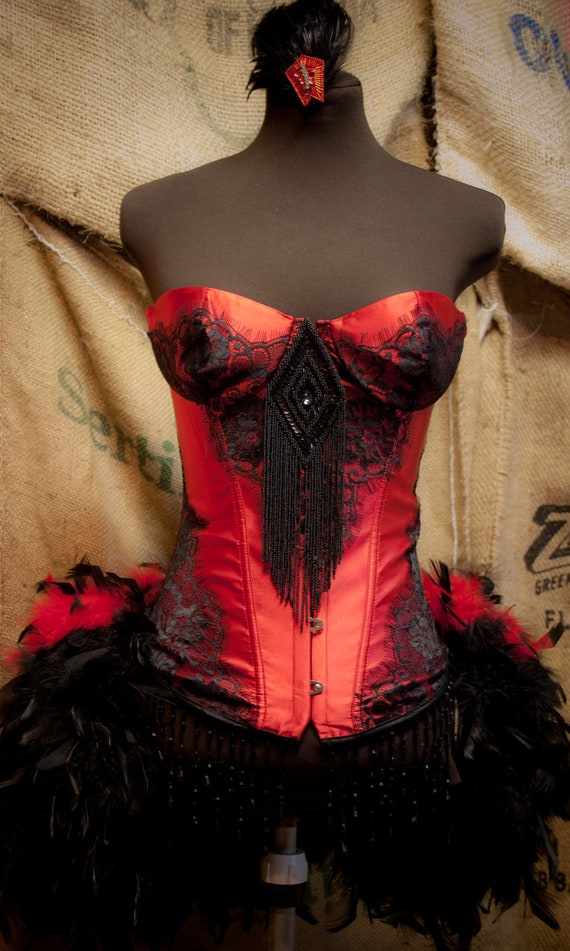 PHOENIX Saloon Girl Dress Steampunk Costume Black Can Can Red Corset