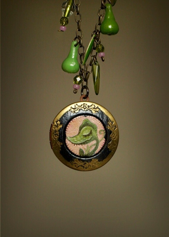 Venus Flytrap specimen necklace. sweet horror cameo locket with miniature painting. Original art jewelry by KarolinFelix