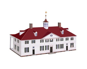 Mount Vernon, paper model of George Washington's mansion || scale 1/100 || full color kit