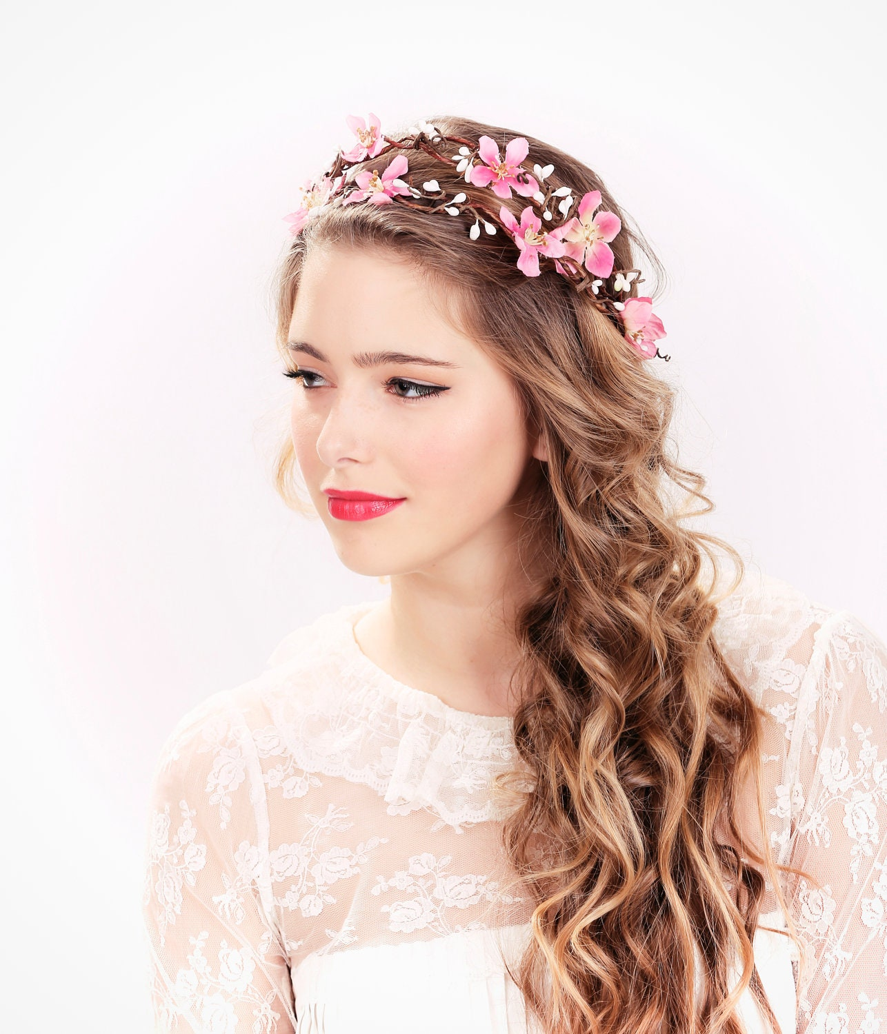 Flower Wedding Headpieces: Pink Flower Crown Wedding Headpiece Flower Crown Bridal