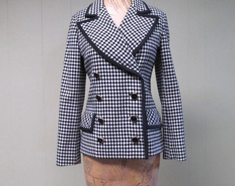 Vintage 1960s Jacket / 60s Double Breasted Wool Jacket Black White Houndstooth I. Magnin  / Small