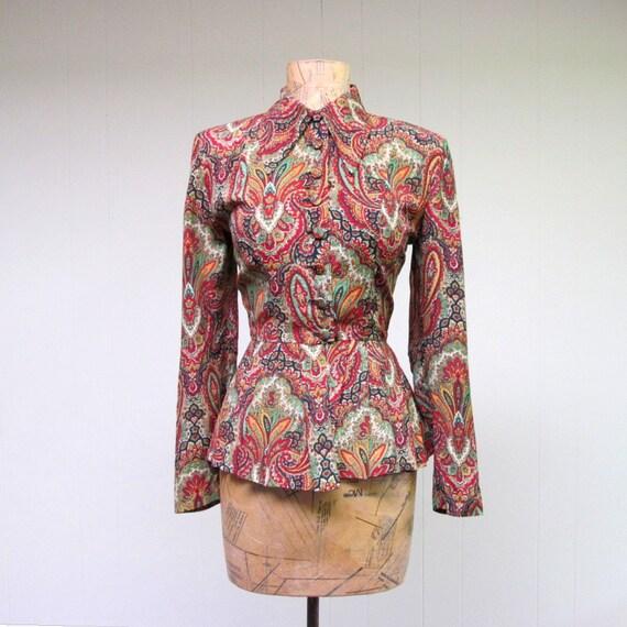 Vintage 1940s Blouse / 40s Paisley Rayon Peplum Blouse / Small