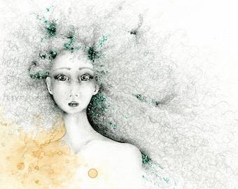 """Fine Art Giclee Print of my Original Fantasy Women in Art Fantasy Art Print """"Imagine"""" Whimsical Women Art Print Fantasy Drawing Fantasy Girl"""