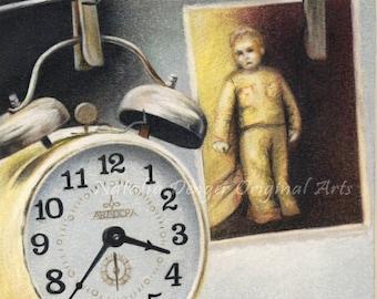 ORIGINAL Pencil Drawing, Nostalgia, Clock, Old Photo, Yellow, Grey, Brown, Vintage, Time, Child, Family, Faded Photo, Colored Pencil Drawing