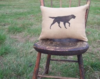 English Setter Pillow - Decorative Pillow - Setter Pillow - Burlap Dog Pillow - English Setter Dog - Home Decor - Hunting Dog Pillow
