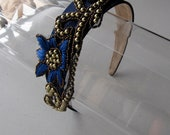 Royal Blue Gold Beaded Flower Satin Headband, for weddings, parties, special occasions