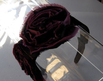 Black and Burgundy Chiffon Flower Satin Headband, for weddings, parties, special occasions
