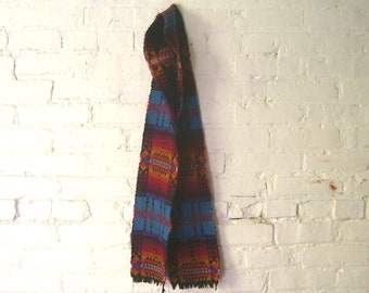 Wool Scarf - Arrow Turquoise Geometric Black