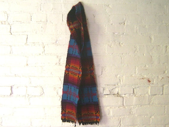 Wool Scarf - Arrow Turquoise Geometric Black