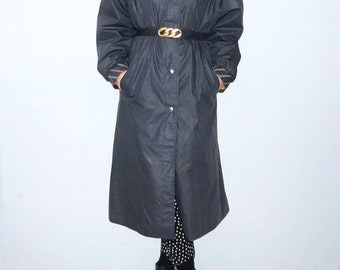 Vintage dark grey women rain coat // trench // outerwear