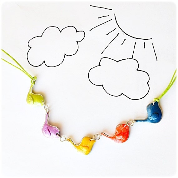 Necklace Cute Colorful Birds, kids jewelry