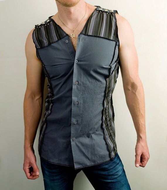 Steam punk sleeveless dress shirt in gray and black