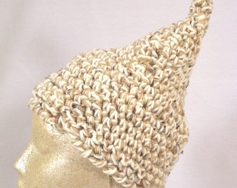 Graham Cracker Sprout Cap-  Adult size hat. Cozy, warm, and hypoallergenic. Kufi Cream Tan Speckled Vegan