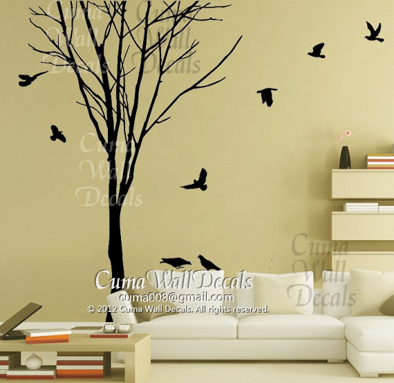 Superb Wall Decals Tree Birds : Tree Wall Decal Winter Wall Decals Birds Wall  Decals Nursery Wall Part 30