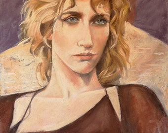 "Pastel portrait woman on archival Canson paper, original art by artist Vernon Grant, ""Ingrid"", Size approximately 20"" x 25"