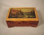Wood Jewelry Box Wood Vintage Cottage Countryside Scene