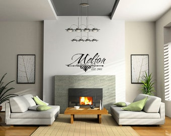 Vinyl Wall Name Decal - Family Established Wall Decal, Vinyl Family Name  Established 0029