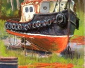 """Original Pastel Painting Art """"Forgotten Tug"""" by artist Colette Savage, Rochester NY, tugboat, nautical art, sailing, ship, Great Lakes"""