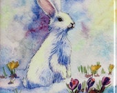 Easter Decor - White Bunny -  Painting  watercolour Ceramic tile, Rabbit PRINT, wall decoration 10x10 cm.,