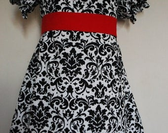 Girls Black and White Damask Dress Custom Made Sizes 6-12month, 12-18month,2t,3t,4t,5,6,7,8Year