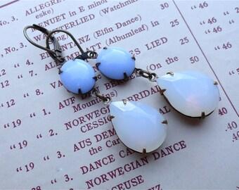 Haiku Earrings Vintage Swarovski Opal Crystals with Retro Blue Milk Glass