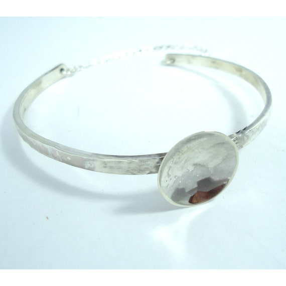 Silver Bangle Bracelet Sterling with Moon Hammered Cuff UK