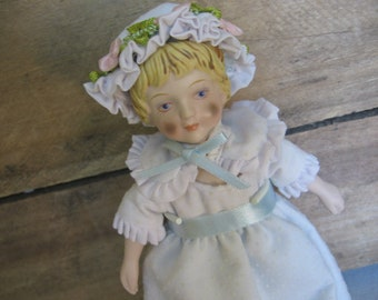 Vintage AVON Porcelain Doll, Victorian Girl in Blue Nightie, Collectible Doll, 1983, Doll Collector Gift, Christmas Gift,