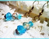 Vintage Style- Aqua Crystal- Wedding Cake Beaded Dangles -Wedding Jewelry-(18.00)