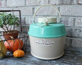 Vintage POLORON fiberglass insulated THERMEX large turquoise teal thermos