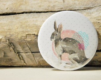 Rabbit pocket mirror -mixed-media- Perfect Christmas stocking stuffer for girls - Handmade
