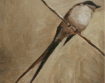 bird art print of oil painting / Bird on a Wire / archival art print