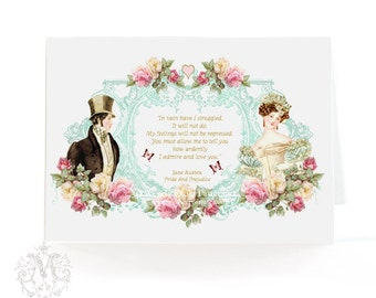 Jane Austen, romantic couple, greeting card, Pride and Prejudice quote, wedding card, Valentine card, engagement card, Regency, pink, blue,