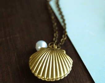 Seashell Locket Necklace, Gold Brass Seashell Locket with White Pearl, Mermaid's Jewelry, Beach Wedding Jewelry, Christmas Gift under 20