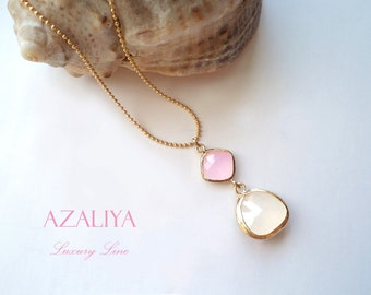 Rose Quartz & White Opal Ballerina Necklace. Pink Stone Necklace. White Stone Necklace. Azaliya Luxury Line. Bridal, Bridesmaids Necklace.