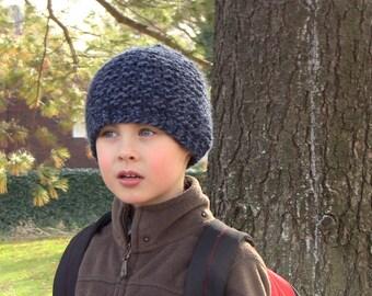 Knit Hat / Boy's Chunky Denim BlueFree US Shipping