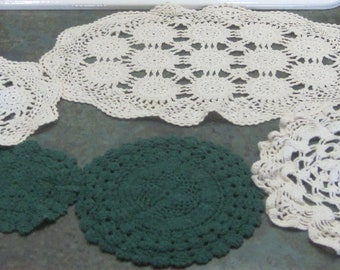 Vintage Doilies Qty of 3 Green and 4 Off White 1950 Era