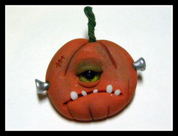 OOAK Frankensteins Monster Cyclop Pumpkin Pin art by Amber Matthies